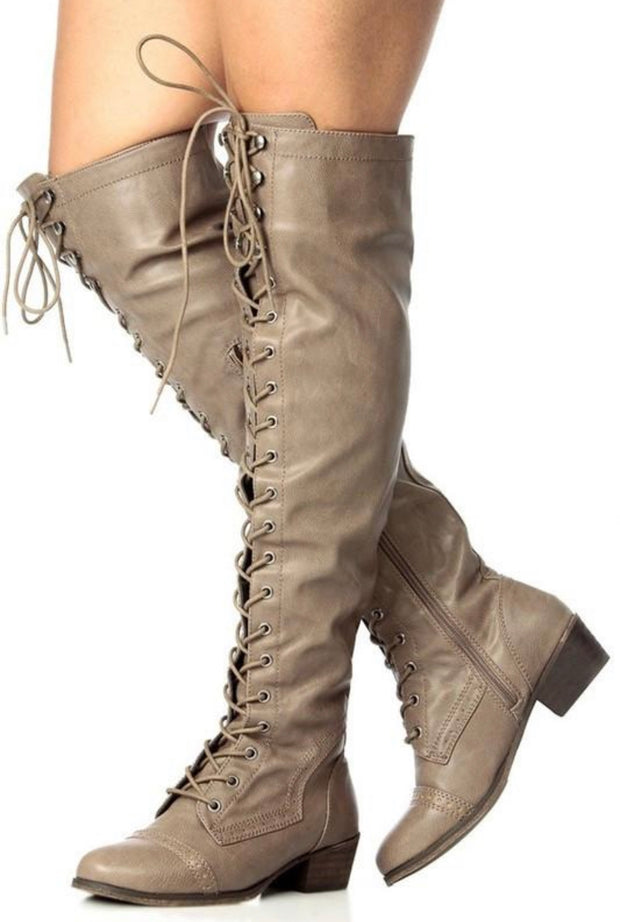 Dakota Knee High Boots (Beige)