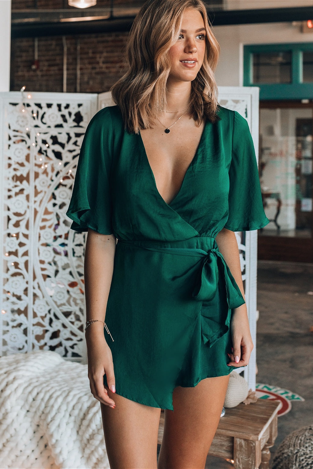 That's A Wrap Satin Romper (Forest Green)