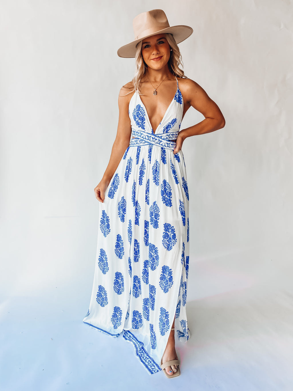 Meet Me In Greece Maxi Dress (Ivory) Pre- Order Ships End Of April