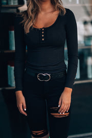 Cute As A Button Long Sleeve (Black)