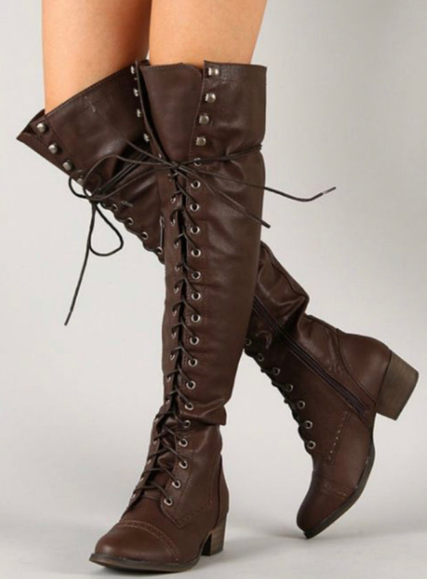 Dakota Knee High Boots (Brown)