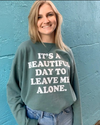 Leave Me Alone Vintage Sweater (Sea Foam)