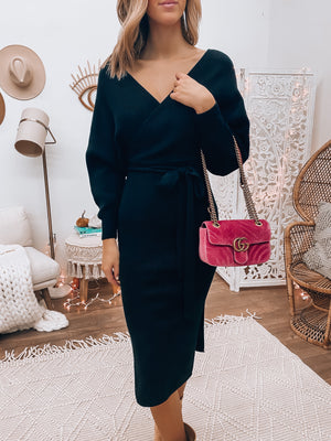 Dahlia Sweater Dress (Black)