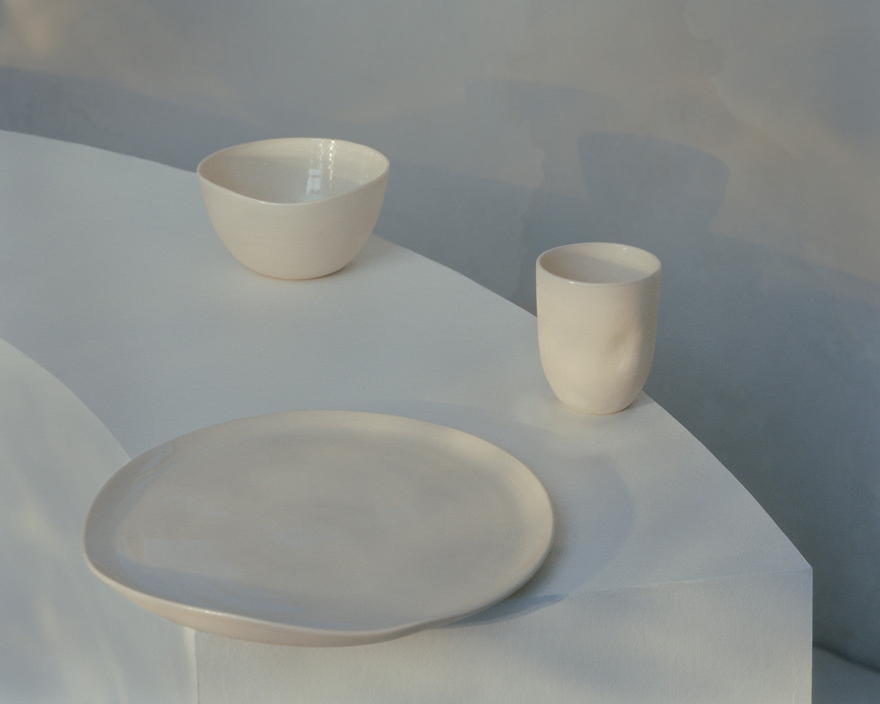 3-piece tableware set, made by hand in USA, 100% porcelain.