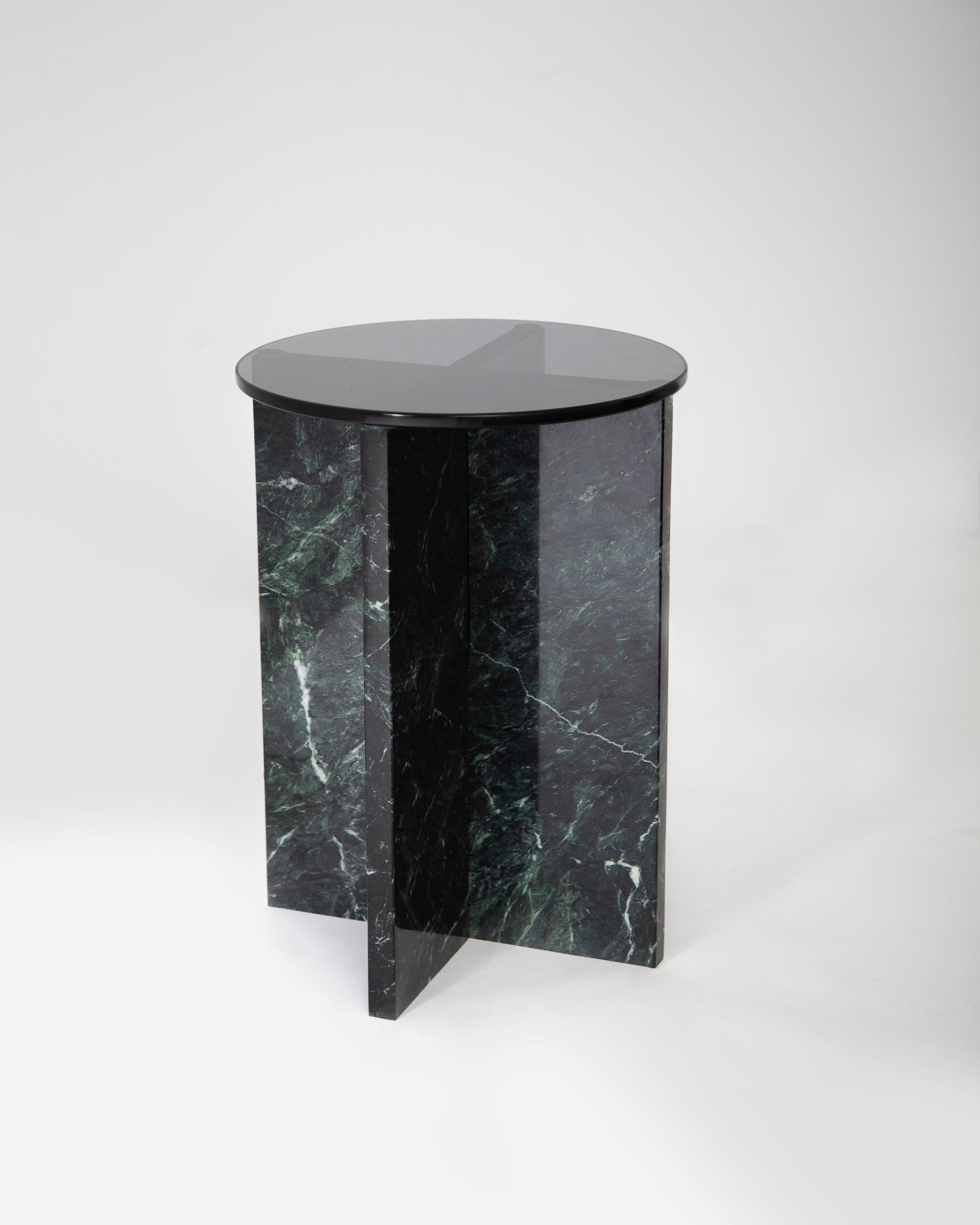 Marble flat-pack side table for beside sofa or accent table.