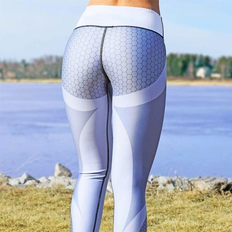 Mesh Pattern Fitness Leggings White/Silver - best waist trainer canada toronto sale
