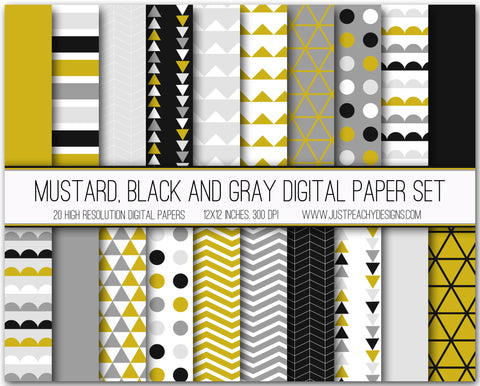 Mustard, Black And Gray Digital Scrapbook Paper Set