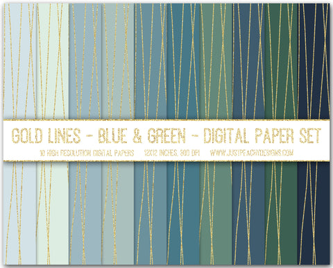 Blues And Greens With Hand Drawn Gold Glitter Lines Digital Scrapbook Paper Set