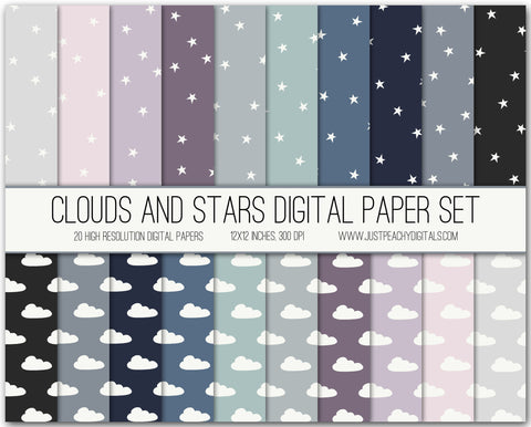 Clouds and Stars Digital Scrapbook Paper Set