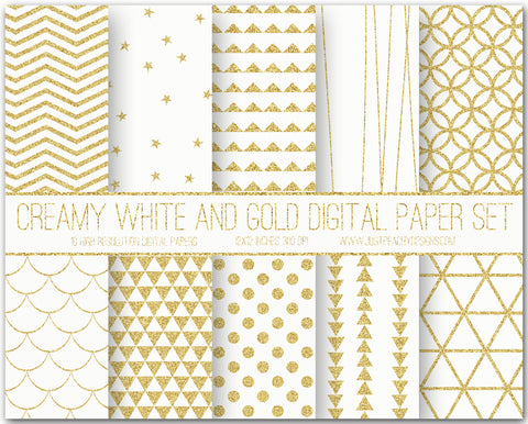 Cream White And Gold Glitter Digital Scrapbook Paper Set
