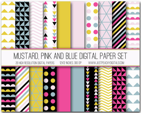 Mustard, Pink And Blue Digital Scrapbook Paper Set
