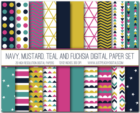 Navy, Mustard, Teal And Pink Digital Scrapbook Paper Set