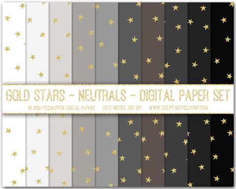 Gold Glitter Stars Digital Scrapbook Paper Set
