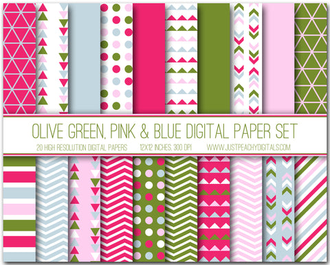 Christmas Olive Green, Pink And Blue Digital Scrapbook Paper Set
