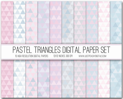 Pastel Triangles Digital Scrapbook Paper Set