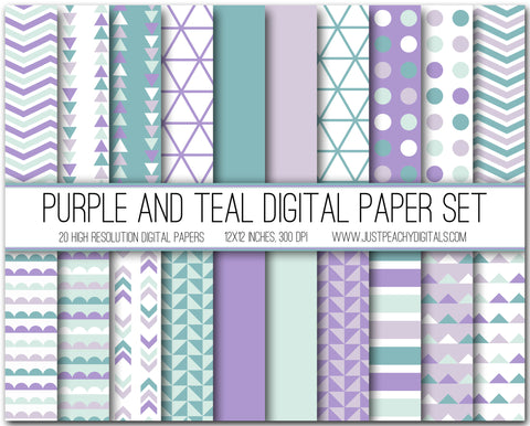 Purple And Teal Digital Scrapbook Paper Set