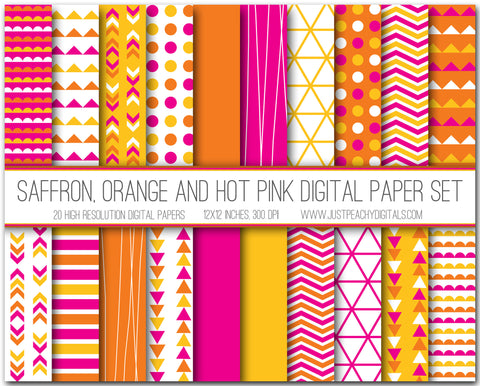 Saffron, Orange And Hot Pink Digital Scrapbook Paper Set