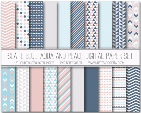 Slate Blue, Aqua And Peach Digital Scrapbook Paper Set