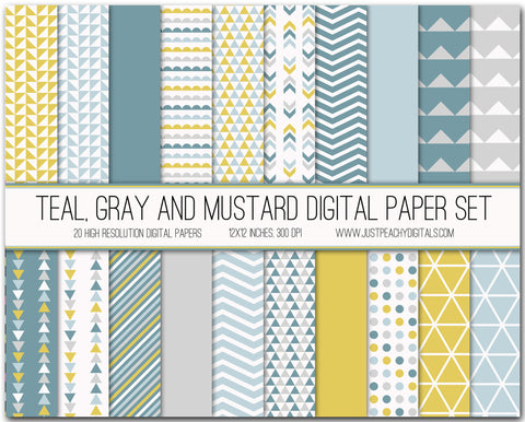 Teal, Gray And Mustard Digital Scrapbook Paper Set