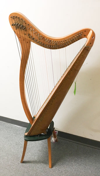 Antique 31-string Folk Harp with Stand (used)