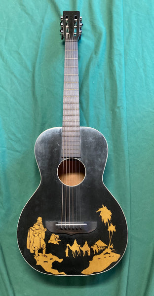 Steel String Guitar ca. 1930 w/Egyptian Desert Caravan Graphic (used)