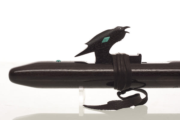 "Crow w/Turquoise Inlay, ""G,"" Ebonized Walnut Flute by High Spirits"