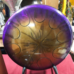 "16"" Purple/Gold Ajna metal tongue drum with padded bag"