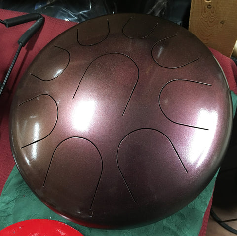 "14"" Burgundy Ajna Metal Tongue Drum"