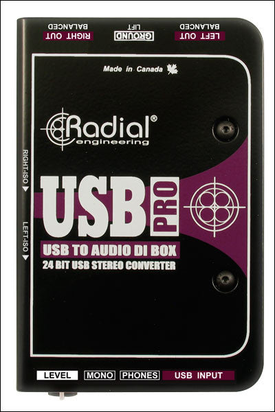 Radial USB-Pro Stereo USB Laptop Direct Box