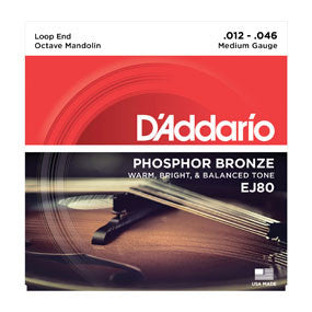 D'Addario EJ80 Phosphor Bronze Octave Mandolin Strings, Medium, 12-46
