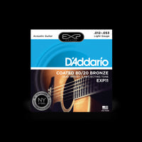 D'Addario EXP11 Light Gauge Coated 80/20 Bronze Acoustic Guitar String Set