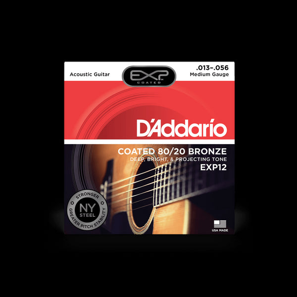D'Addario EXP12 Medium Gauge Coated 80/20 Bronze Acoustic Guitar String Set
