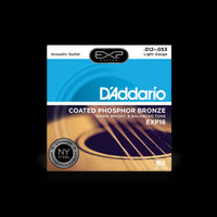 D'Addario EXP16 Light Gauge Coated Phosphor Bronze Acoustic Guitar String Set