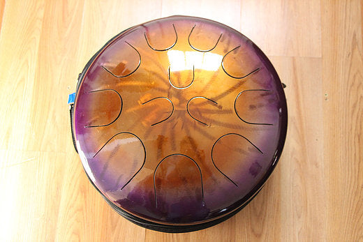 "16"" Amethyst/Gold Burst Ajna metal tongue drum with padded bag"