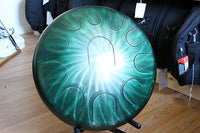 "16"" Double Sided Jade Halo Ajna metal tongue drum with padded bag"
