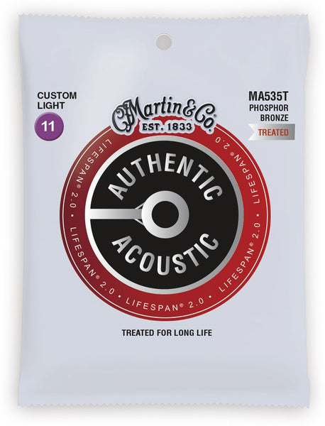Martin Lifespan Treated Phosphor Bronze Authentic Acoustic Guitar Strings