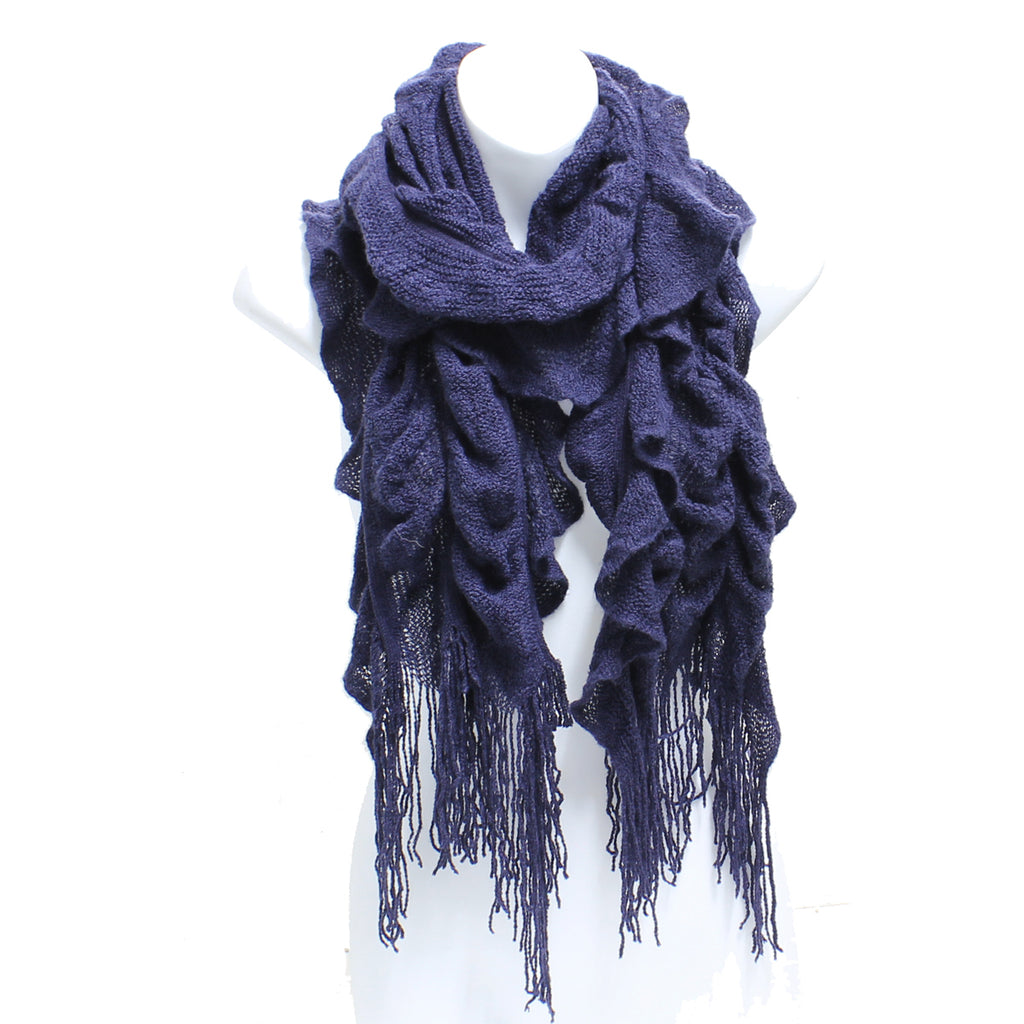 Womens Winter Knit Ruffle Navy Blue Scarf With Fringe