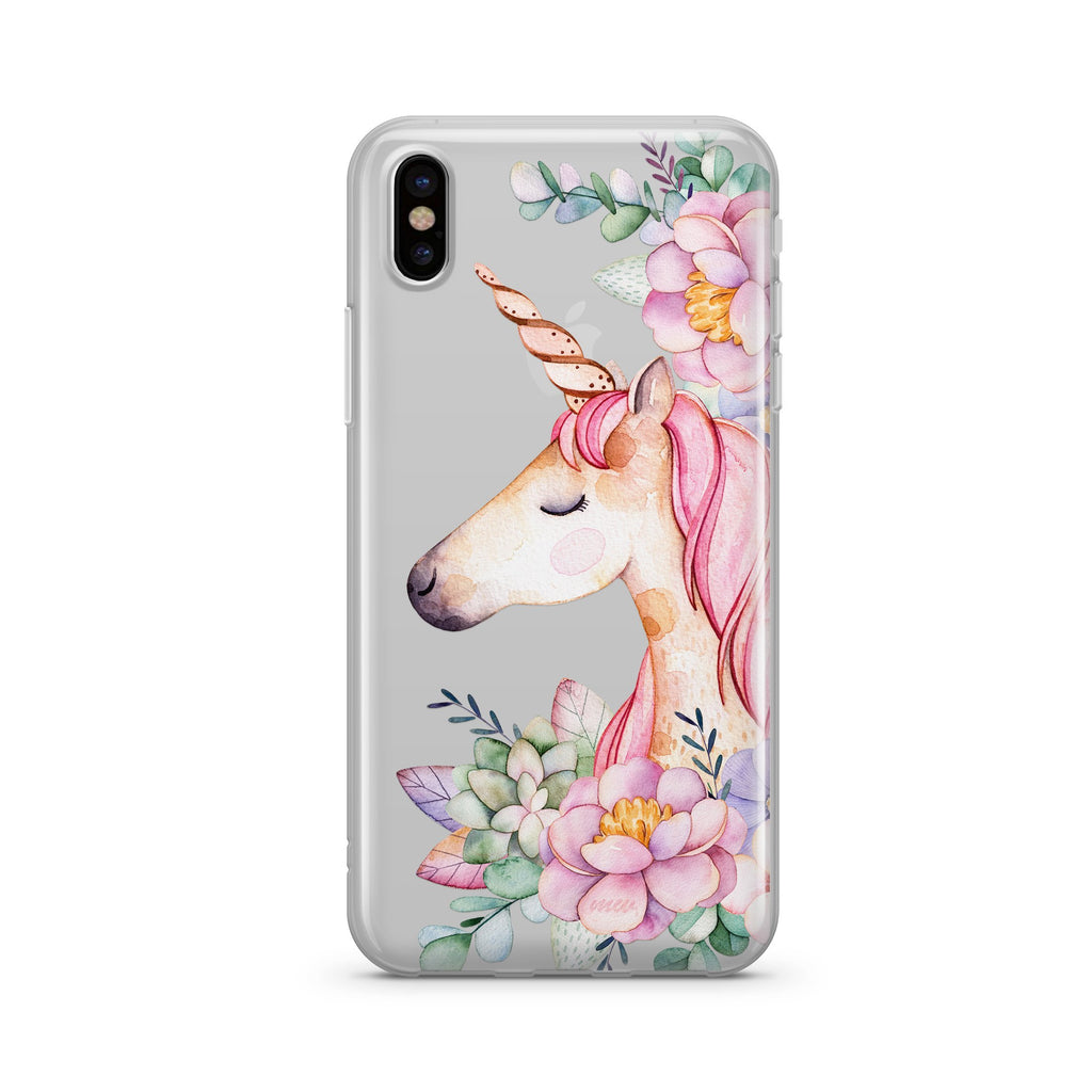 Floral Unicorn Clear Phone Case Cover