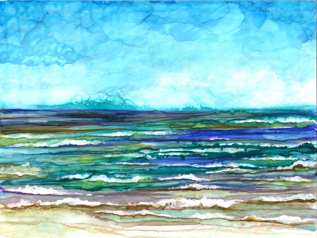 Ocean Breeze Alcohol Ink Painting