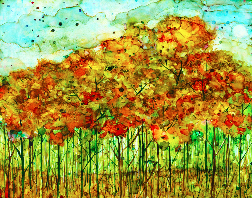 Autumn Forest: Alcohol Ink Painting