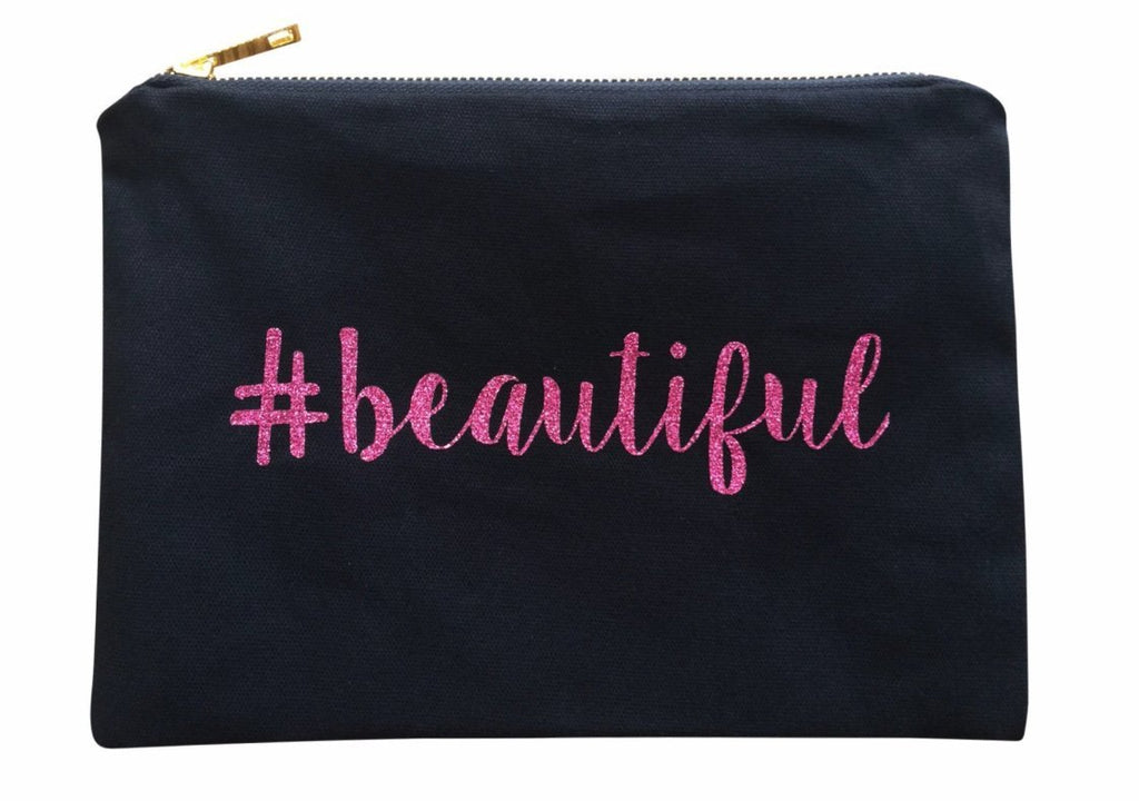 Pink #beautiful Glitter Makeup Canvas Bag