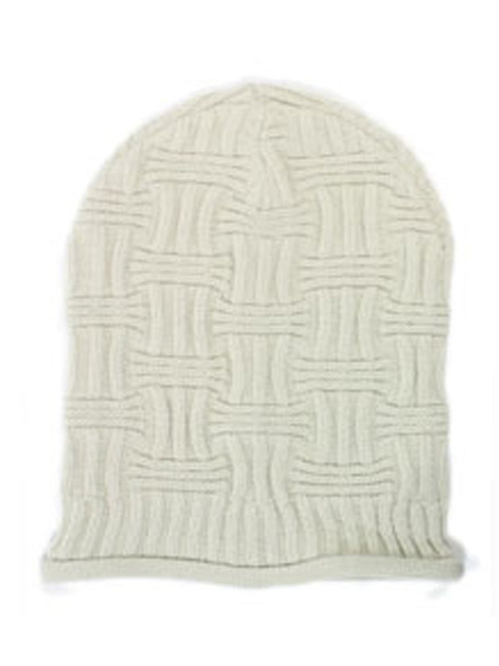 Ivory Unisex Basket Weave Slouchy Beanie Hat Mid Weight
