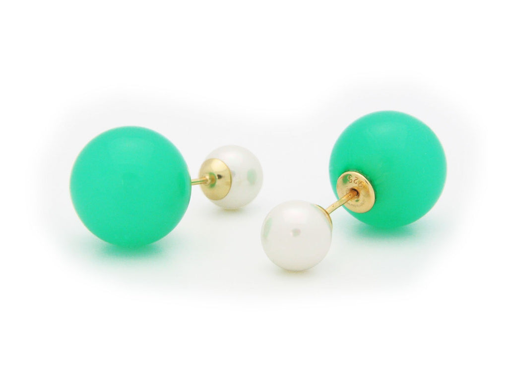 Double Sided Tribal Earrings | 925 Sterling Silver Faux Green & White Pearls