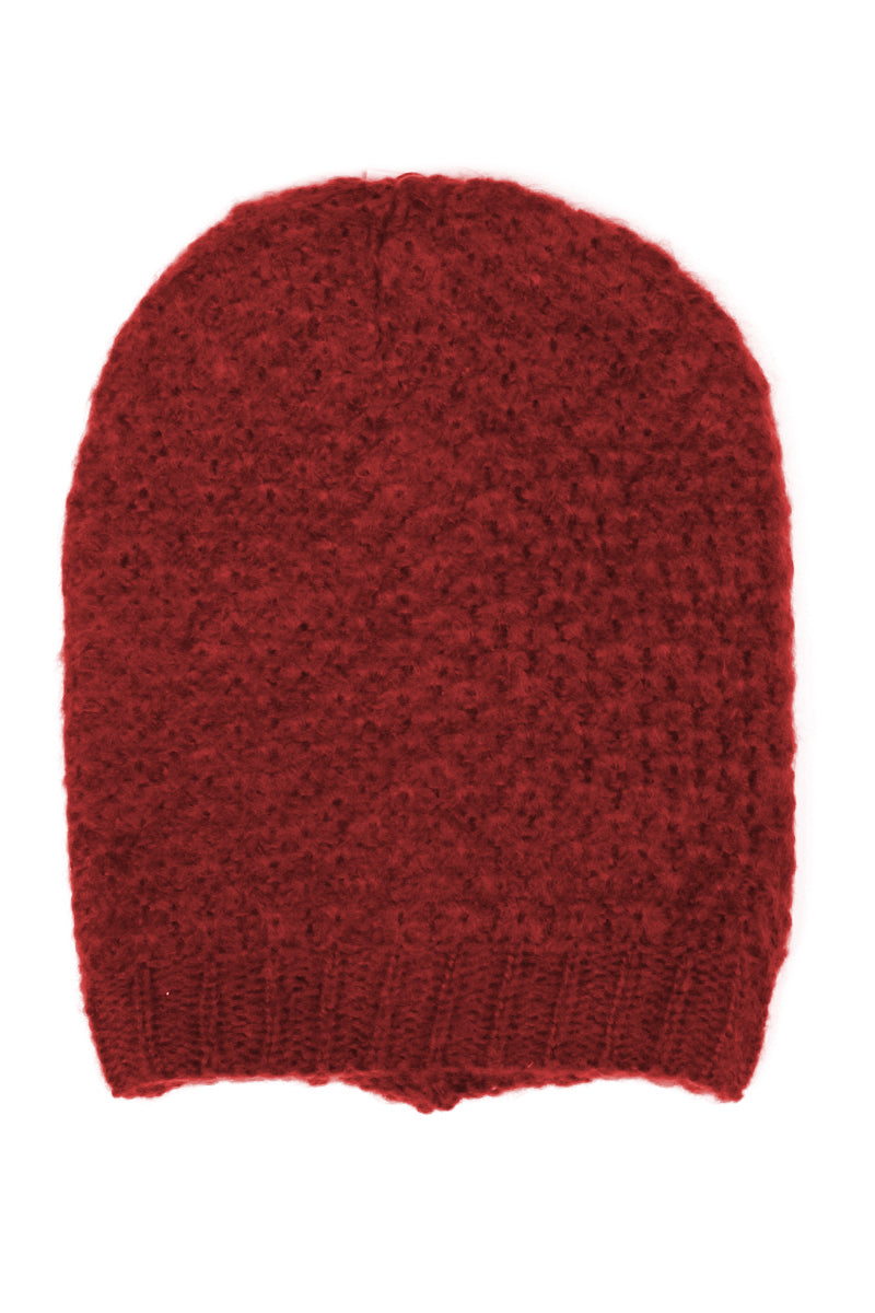 Merlot Red Ringlet Textured Slouchy Beanie