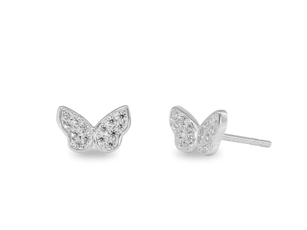 925 Sterling Silver Mini Glittering Butterfly Stud Earrings