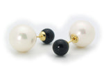 Double Sided Faux Black Pearl Tribal Earrings | 925 Sterling Silver