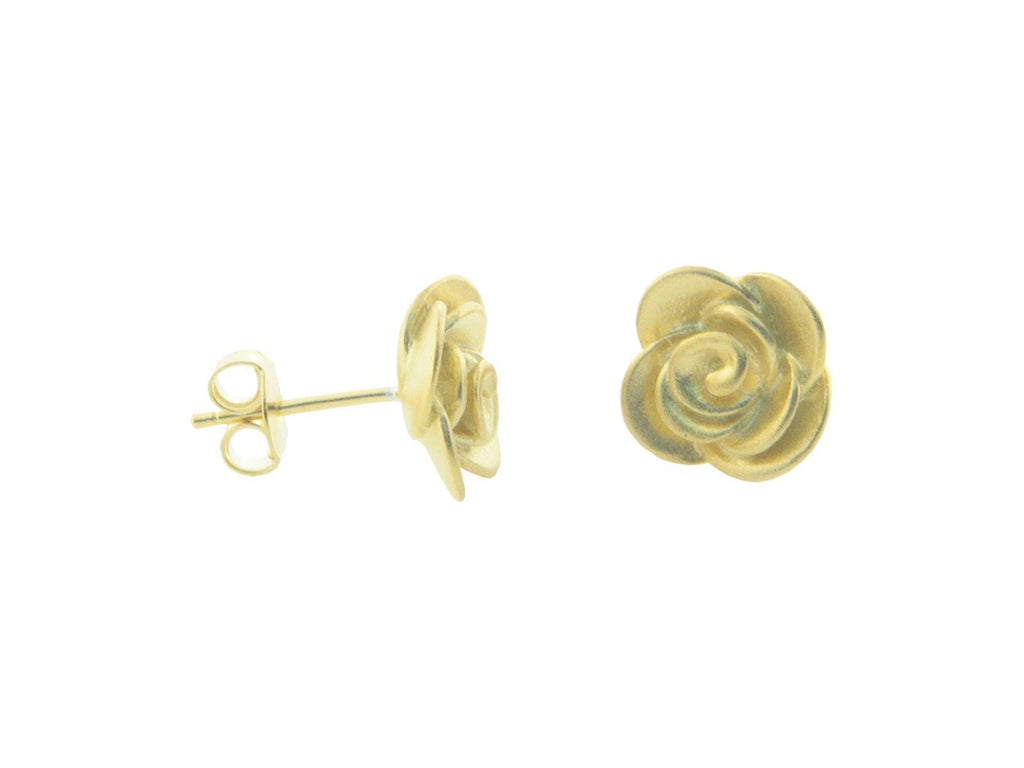 Golden Rose Flower Studs