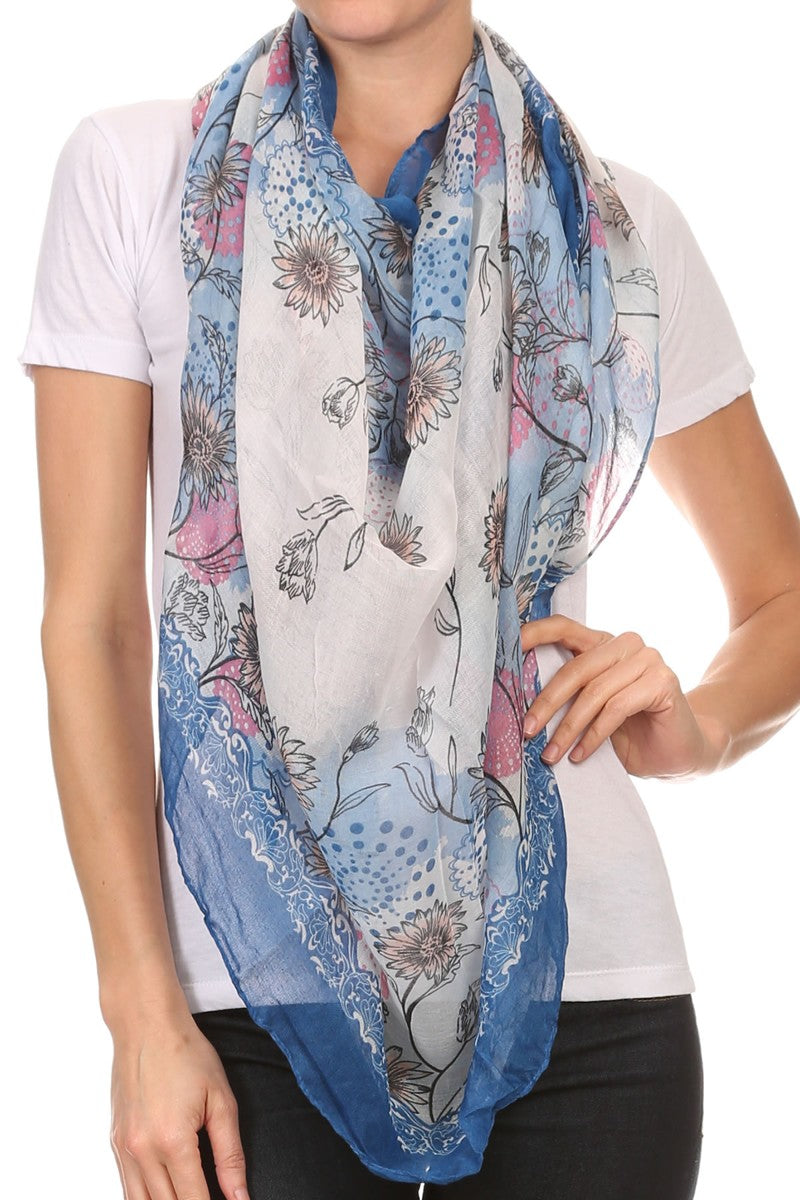 Multi Flower Print Lightweight Blanket Scarf