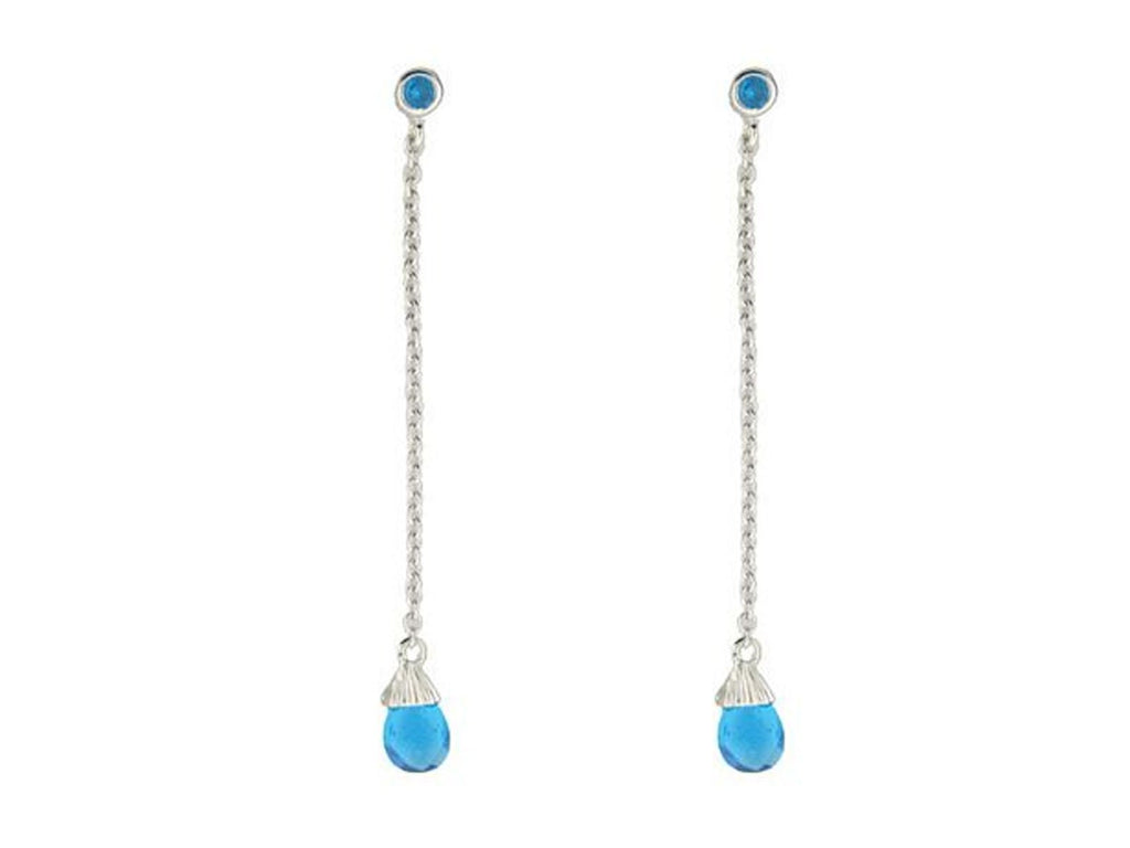 Blue Cubic Zirconia Briolette Earrings in Sterling Silver