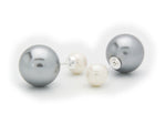 Double Sided Faux Grey & White Pearl Tribal Earrings | 925 Sterling Silver